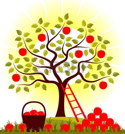 43891212-vector-apple-tree-and-basket-of-apples-with-pile-of-apples